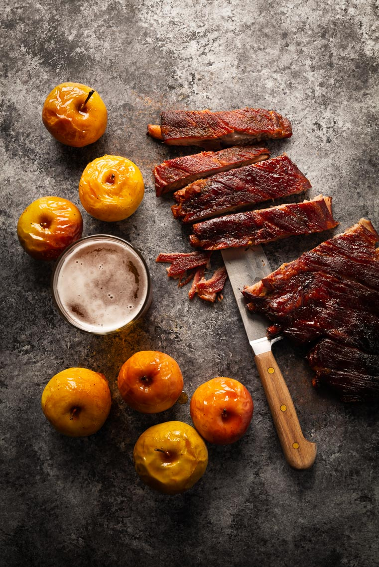 Apple Cider Ribs w/ Roasted Apples - Food Photographer