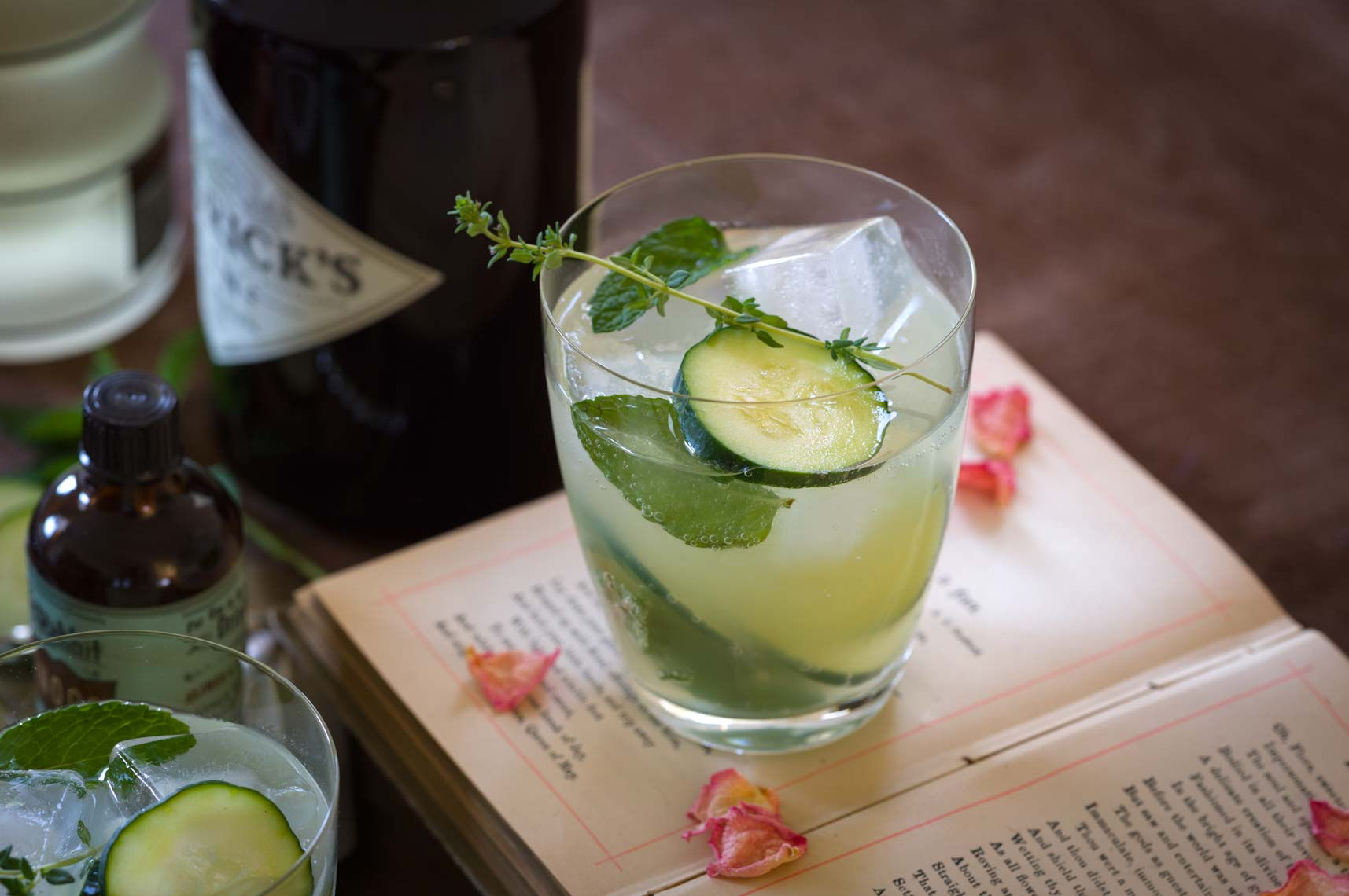Gin, cucumber, mint & rose cocktail.