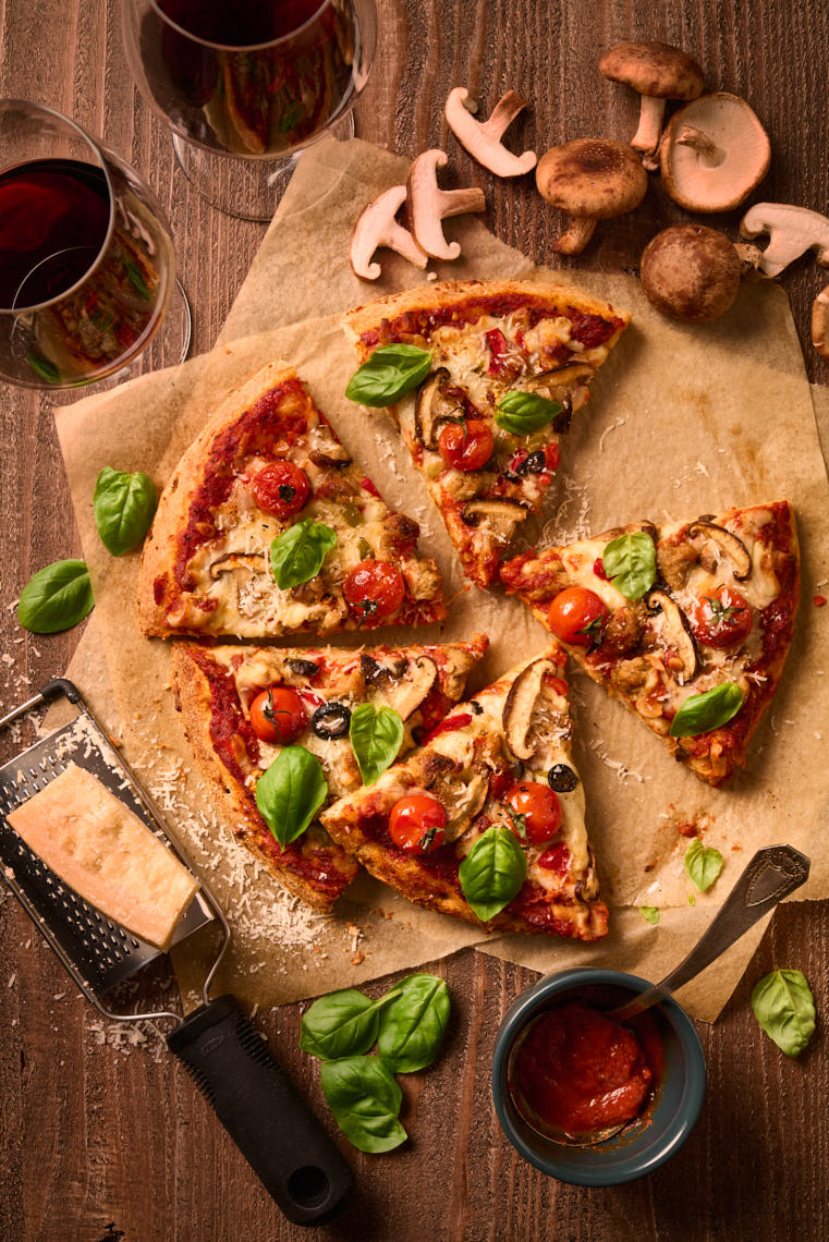 Pizza With Mushroom, Tomato & Basil - Philadelphia Food Photographer